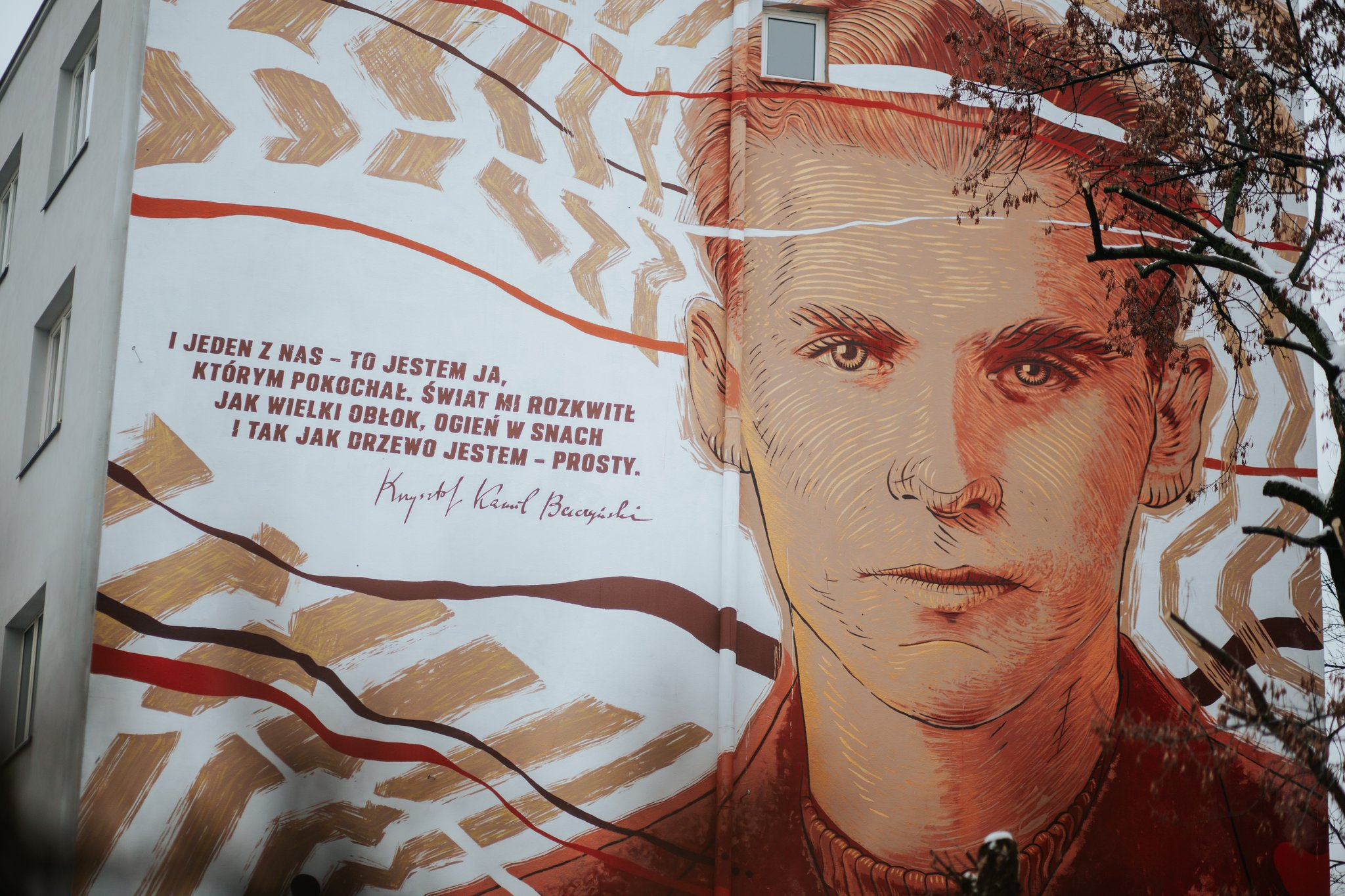 Mural zupamietniający Kamila Krzysztofa Baczyńskiego