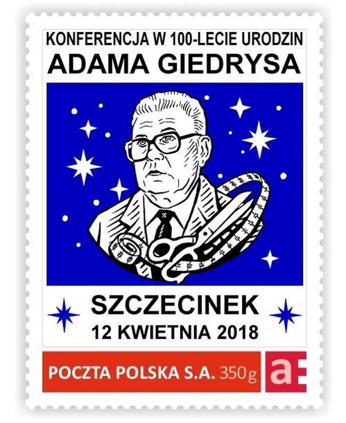 Znaczek z Andrzejem Giedrysem