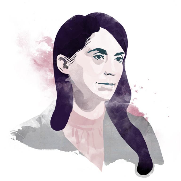 Grafika przedstawiająca Małgorzatę Lebdę.