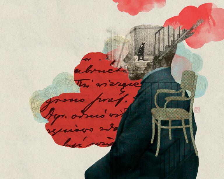 Grafika przedstawiająca poetę