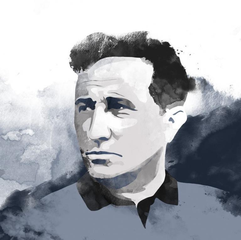 Grafika przedsawiająca Tadeusza Różewicza