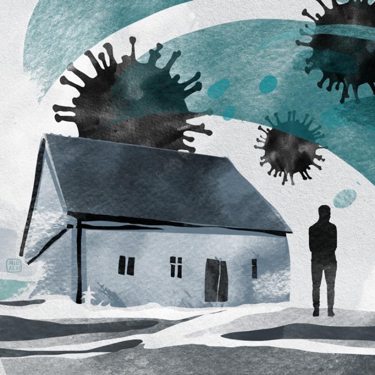 Domy na które nacierają cząsteczki koronawirusa