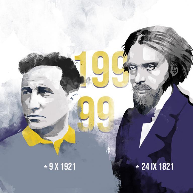 Portret Norwida i Różewicza