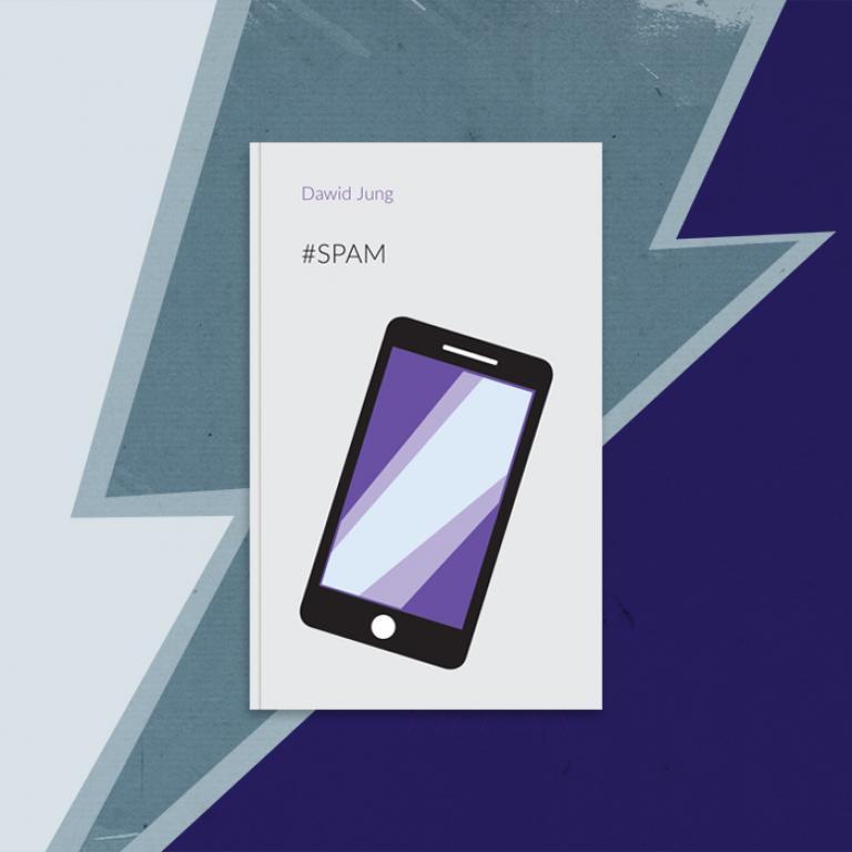 Okładka ksiązki z rysunkiem telefonu komórkowego